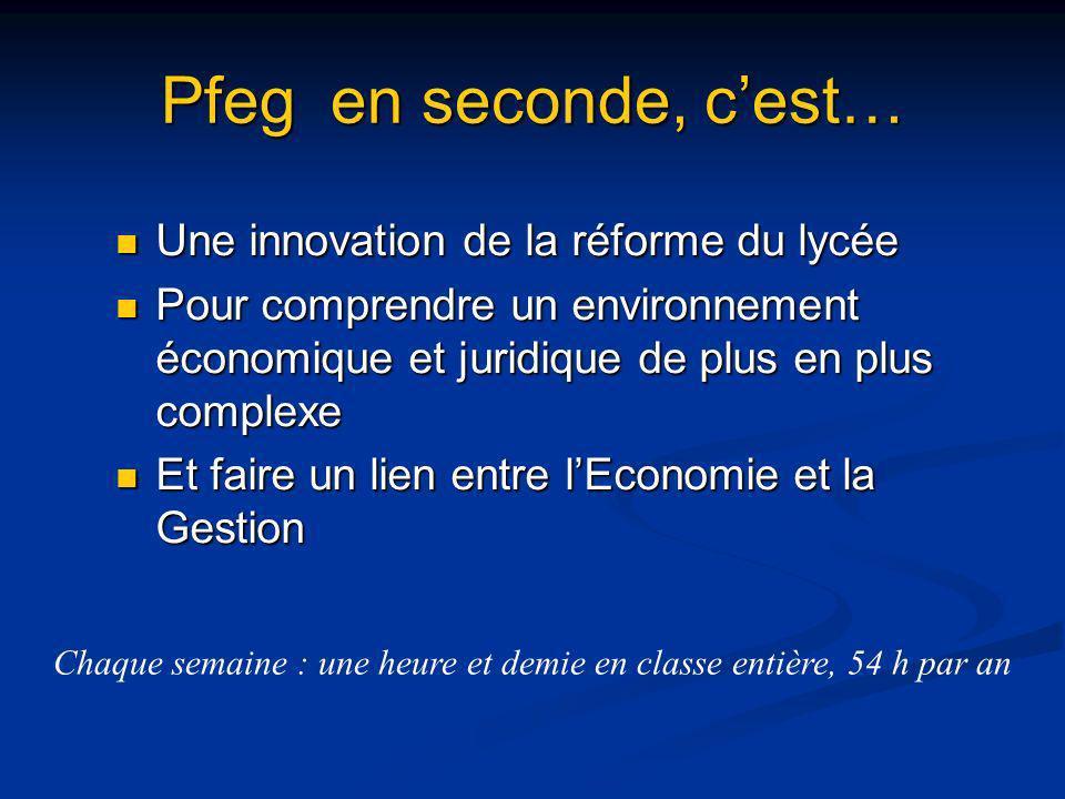 Pfeg en seconde, cest… Une innovation de la réforme du lycée Une innovation de la réforme du lycée Pour comprendre un environnement économique et juri