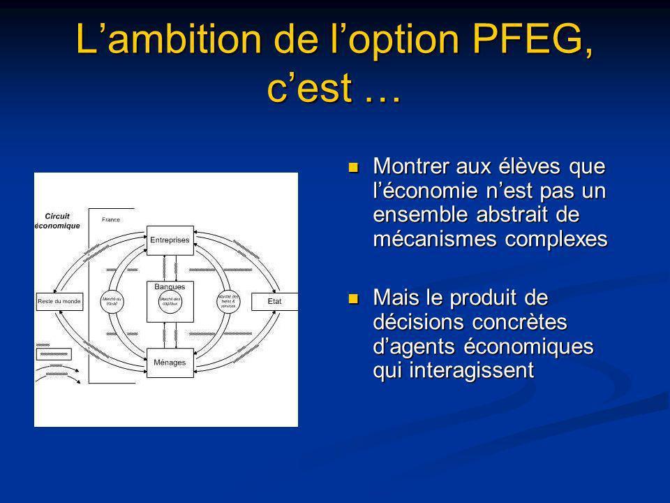 Lambition de loption PFEG, cest … Montrer aux élèves que léconomie nest pas un ensemble abstrait de mécanismes complexes Mais le produit de décisions