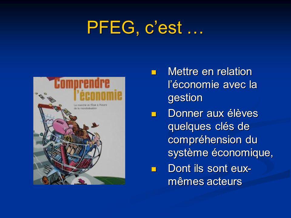 PFEG, cest … Mettre en relation léconomie avec la gestion Donner aux élèves quelques clés de compréhension du système économique, Dont ils sont eux- m