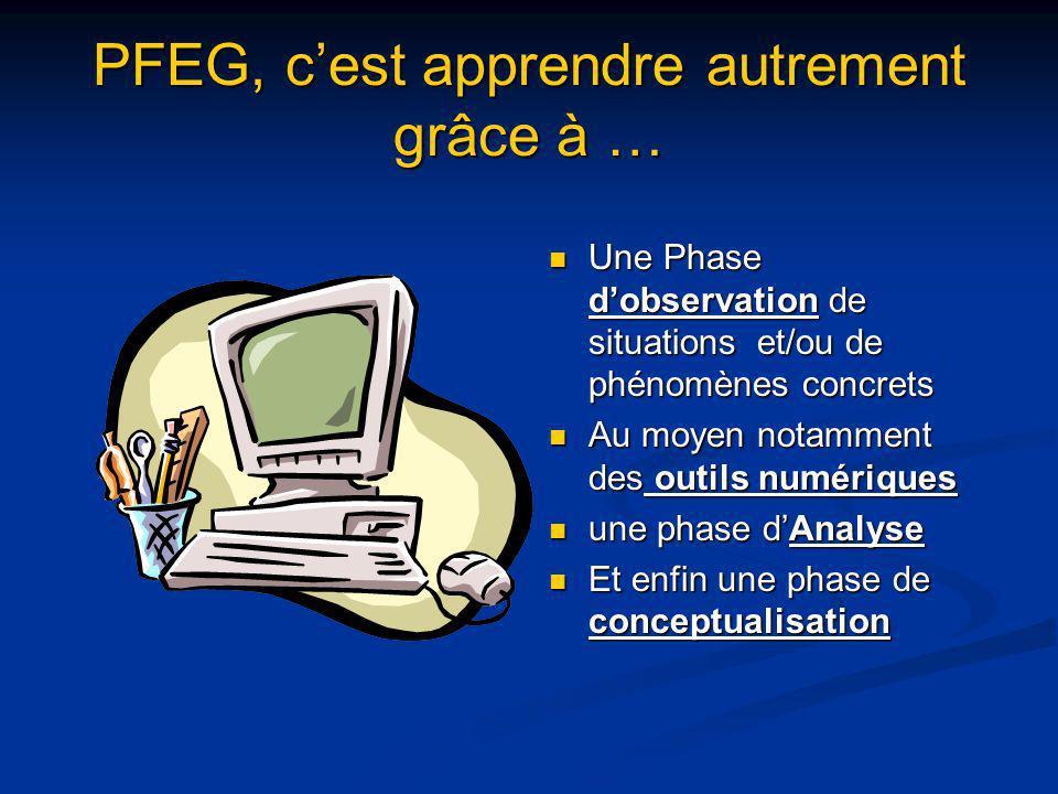PFEG, cest apprendre autrement grâce à … Une Phase dobservation de situations et/ou de phénomènes concrets Au moyen notamment des outils numériques un