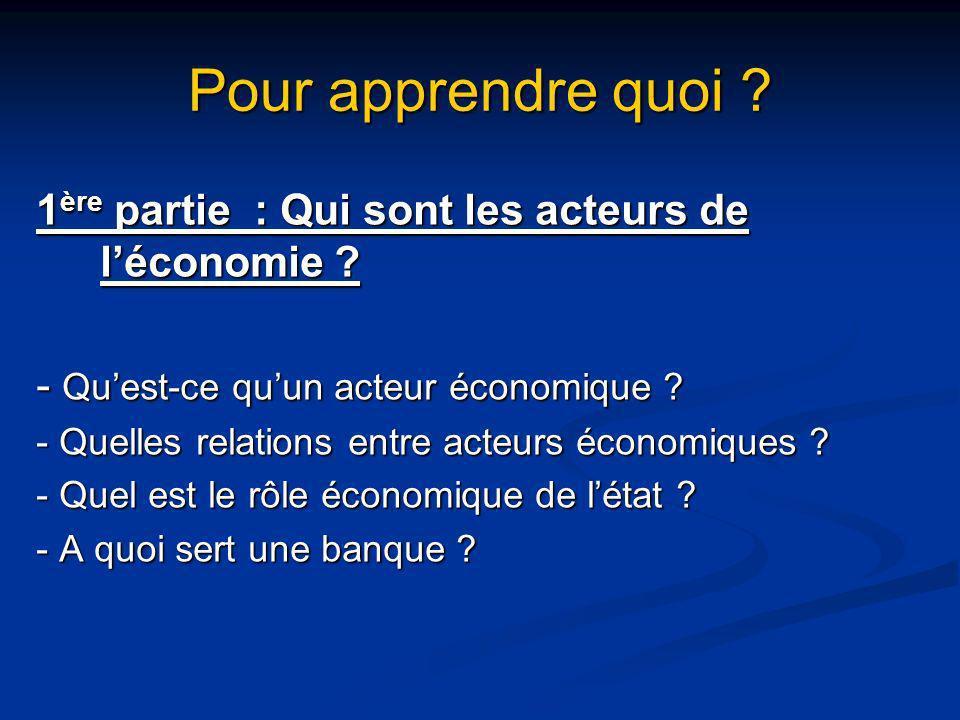 Pour apprendre quoi ? 1 ère partie : Qui sont les acteurs de léconomie ? - Quest-ce quun acteur économique ? - Quelles relations entre acteurs économi