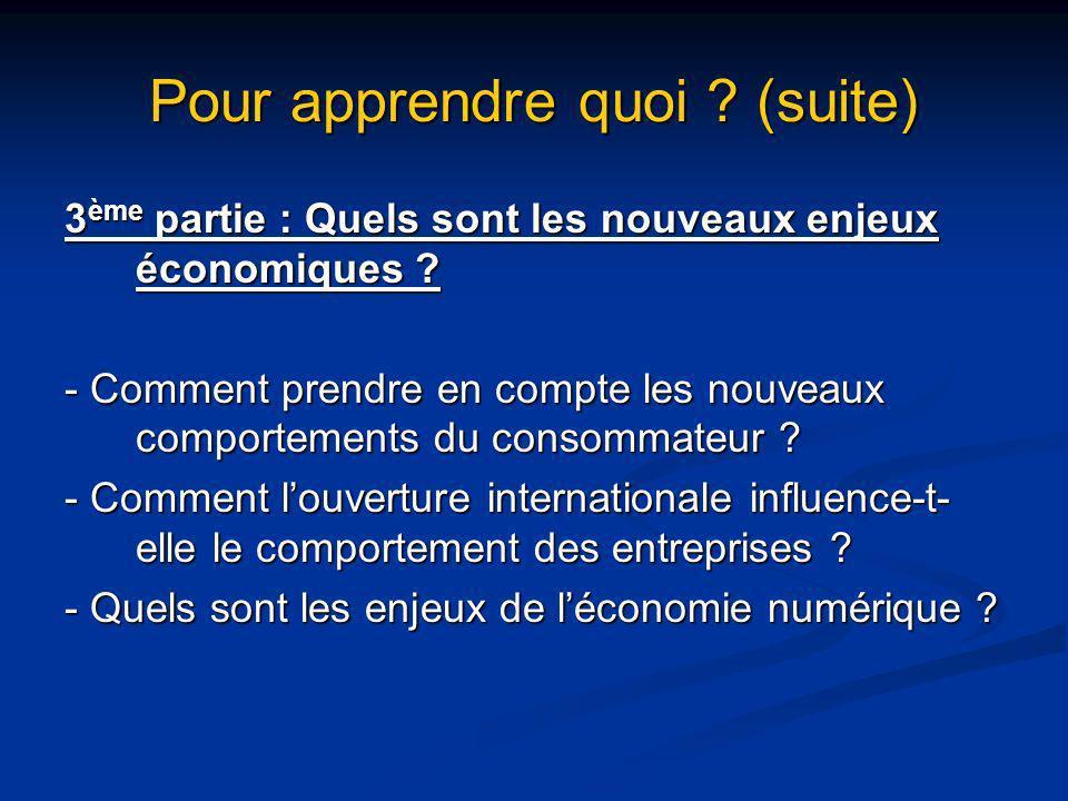 Pour apprendre quoi ? (suite) 3 ème partie : Quels sont les nouveaux enjeux économiques ? - Comment prendre en compte les nouveaux comportements du co
