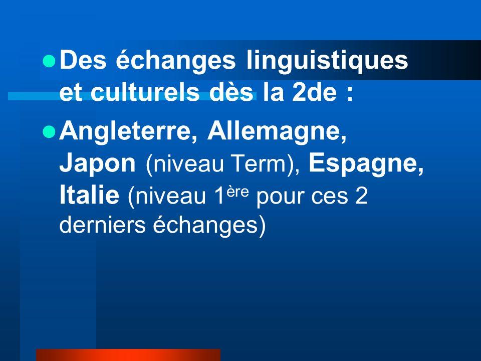 Des échanges linguistiques et culturels dès la 2de : Angleterre, Allemagne, Japon (niveau Term), Espagne, Italie (niveau 1 ère pour ces 2 derniers éch