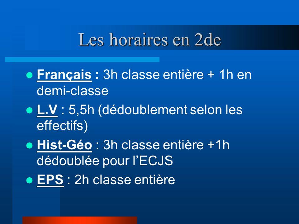 Les horaires en 2de Français : 3h classe entière + 1h en demi-classe L.V : 5,5h (dédoublement selon les effectifs) Hist-Géo : 3h classe entière +1h dé
