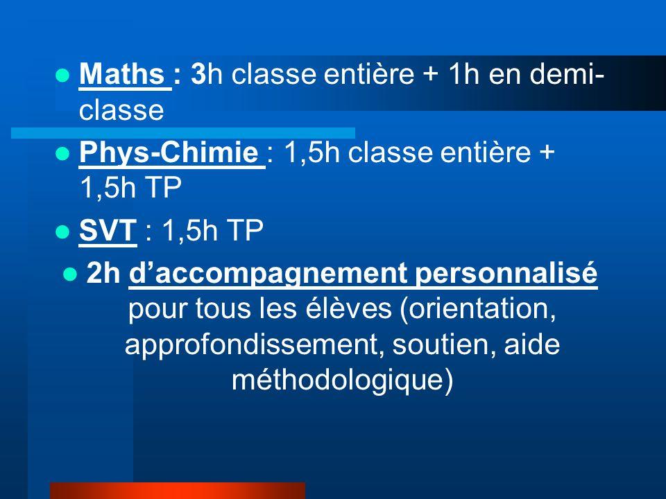 Maths : 3h classe entière + 1h en demi- classe Phys-Chimie : 1,5h classe entière + 1,5h TP SVT : 1,5h TP 2h daccompagnement personnalisé pour tous les