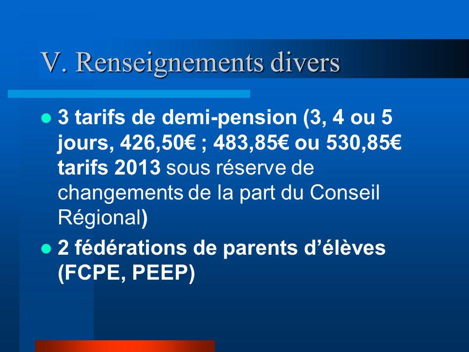 V. Renseignements divers 3 tarifs de demi-pension (3, 4 ou 5 jours, 426,50 ; 483,85 ou 530,85 tarifs 2013 sous réserve de changements de la part du Co