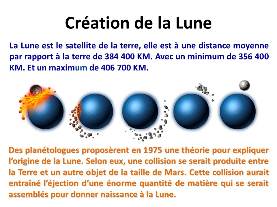 La Lune est le satellite de la terre, elle est à une distance moyenne par rapport à la terre de 384 400 KM.