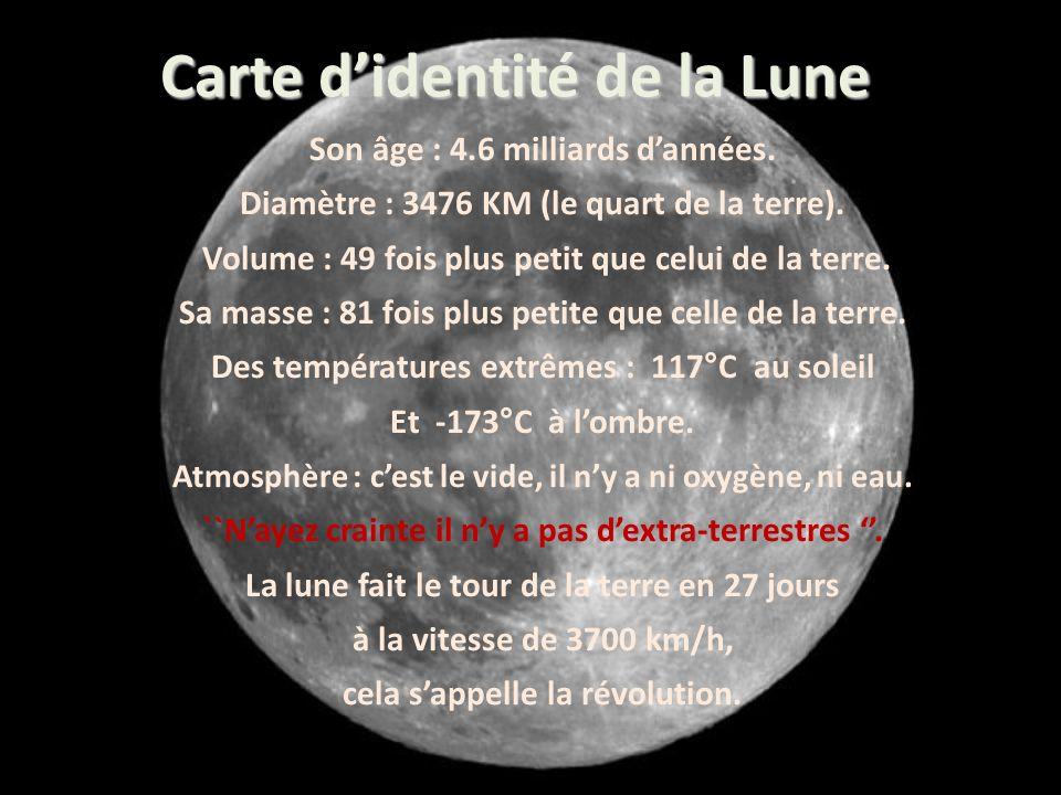 Son âge : 4.6 milliards dannées. Diamètre : 3476 KM (le quart de la terre).