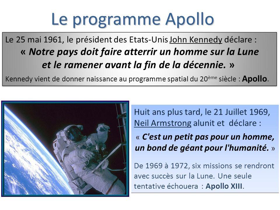 Le programme Apollo Le 25 mai 1961, le président des Etats-Unis John Kennedy déclare : « Notre pays doit faire atterrir un homme sur la Lune et le ramener avant la fin de la décennie.