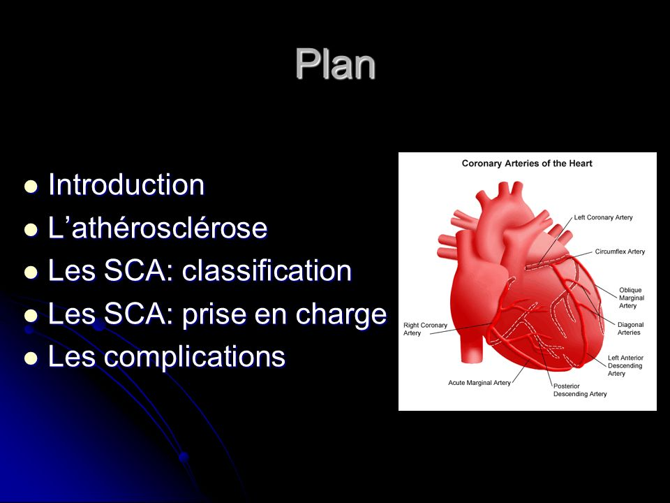 Plan Introduction Introduction Lathérosclérose Lathérosclérose Les SCA: classification Les SCA: classification Les SCA: prise en charge Les SCA: prise