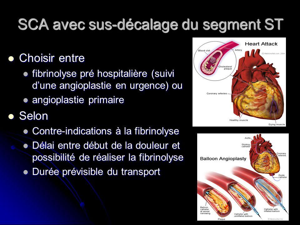 SCA avec sus-décalage du segment ST Choisir entre Choisir entre fibrinolyse pré hospitalière (suivi dune angioplastie en urgence) ou fibrinolyse pré h