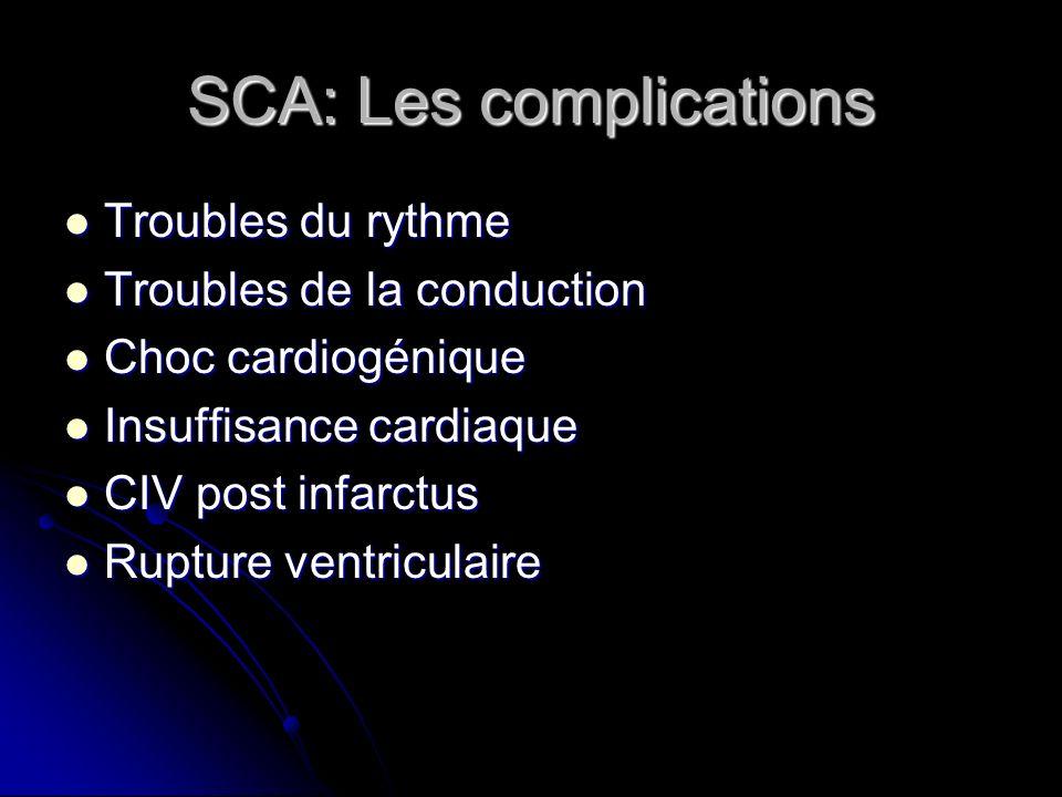 SCA: Les complications Troubles du rythme Troubles du rythme Troubles de la conduction Troubles de la conduction Choc cardiogénique Choc cardiogénique