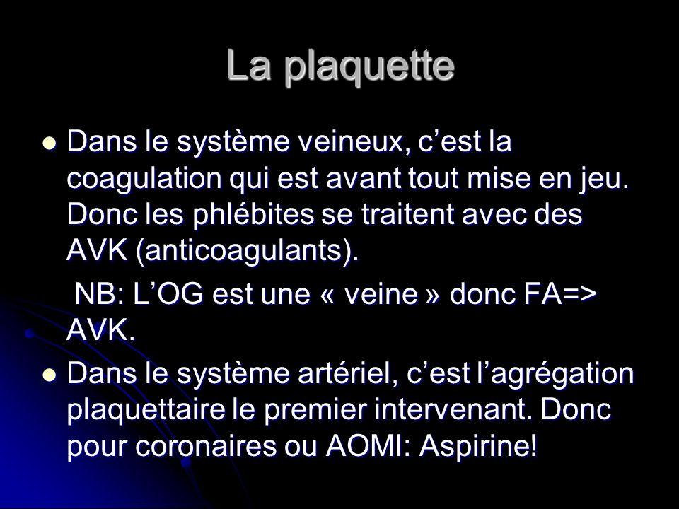 La plaquette Dans le système veineux, cest la coagulation qui est avant tout mise en jeu. Donc les phlébites se traitent avec des AVK (anticoagulants)