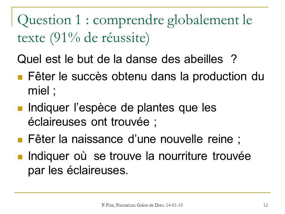 P. Fize, Formation Grâce de Dieu. 14-01-10 13 Question 1 : comprendre globalement le texte (91% de réussite) Quel est le but de la danse des abeilles