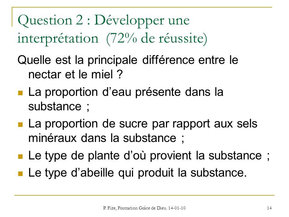 P. Fize, Formation Grâce de Dieu. 14-01-10 14 Question 2 : Développer une interprétation (72% de réussite) Quelle est la principale différence entre l