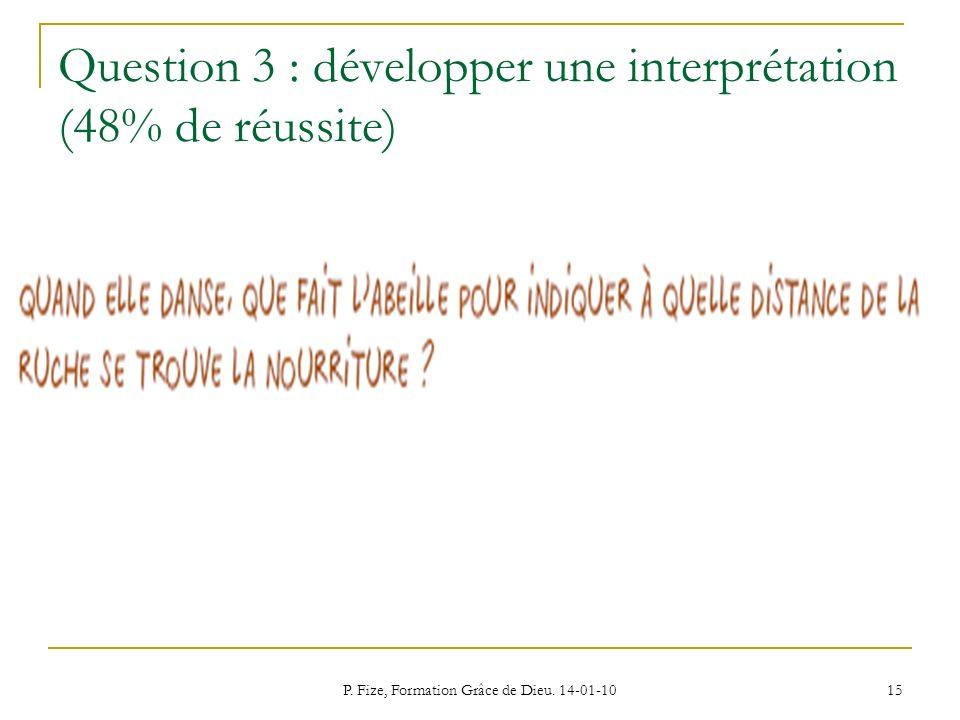 P. Fize, Formation Grâce de Dieu. 14-01-10 15 Question 3 : développer une interprétation (48% de réussite)