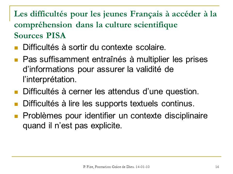 P. Fize, Formation Grâce de Dieu. 14-01-10 16 Les difficultés pour les jeunes Français à accéder à la compréhension dans la culture scientifique Sourc
