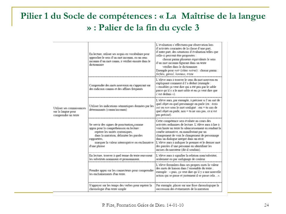 P. Fize, Formation Grâce de Dieu. 14-01-10 24 Pilier 1 du Socle de compétences : « La Maîtrise de la langue » : Palier de la fin du cycle 3