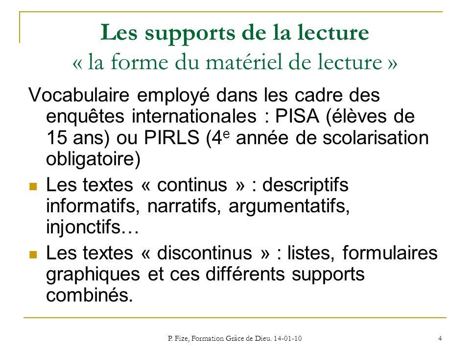 P. Fize, Formation Grâce de Dieu. 14-01-10 4 Les supports de la lecture « la forme du matériel de lecture » Vocabulaire employé dans les cadre des enq