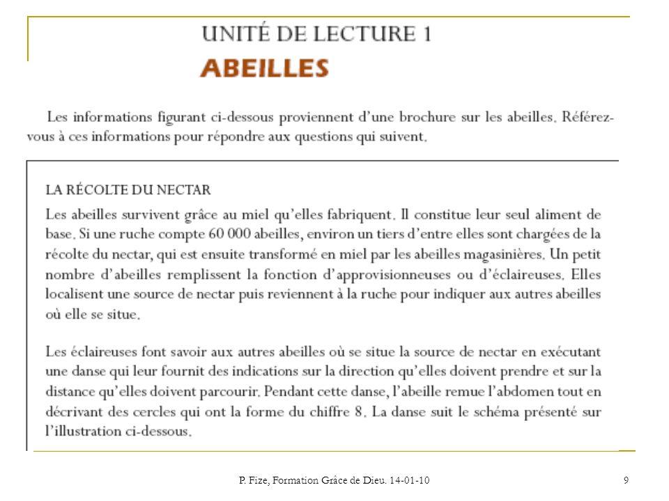 P. Fize, Formation Grâce de Dieu. 14-01-10 9
