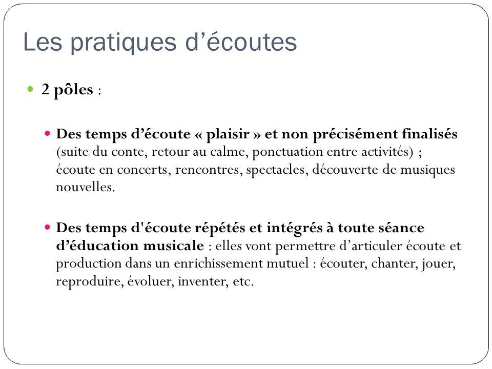 Les pratiques découtes 2 pôles : Des temps découte « plaisir » et non précisément finalisés (suite du conte, retour au calme, ponctuation entre activi