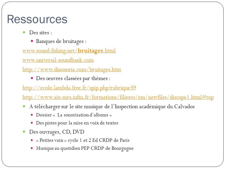 Ressources Des sites : Banques de bruitages : www.sound-fishing.net/bruitages.html www.universal-soundbank.com http://www.dinosoria.com/bruitages.htm