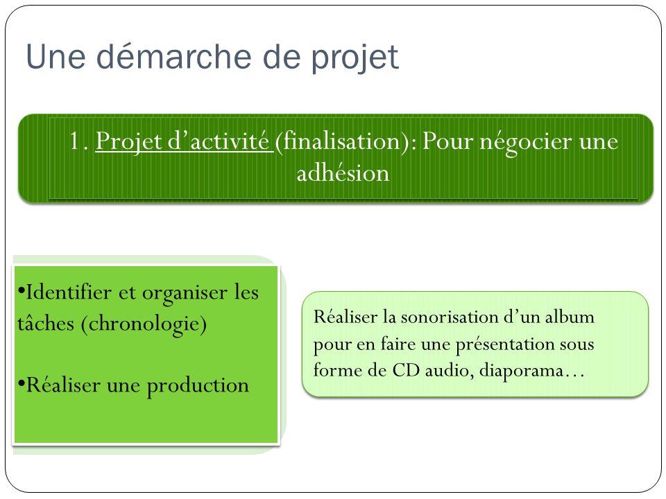 Une démarche de projet 1. Projet dactivité (finalisation): Pour négocier une adhésion Réaliser la sonorisation dun album pour en faire une présentatio