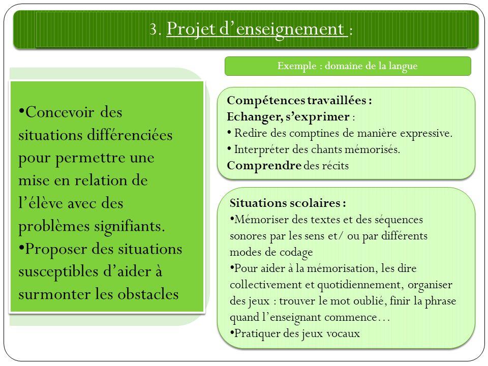 3. Projet denseignement : Compétences travaillées : Echanger, sexprimer : Redire des comptines de manière expressive. Interpréter des chants mémorisés