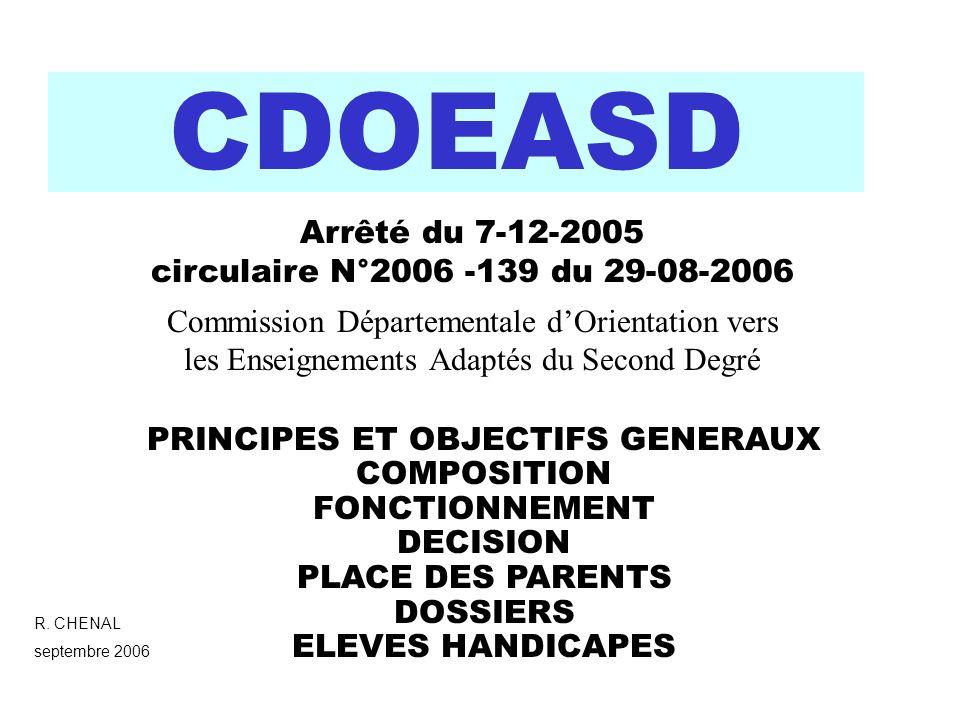 CDOEASD Commission Départementale dOrientation vers les Enseignements Adaptés du Second Degré R. CHENAL septembre 2006 PRINCIPES ET OBJECTIFS GENERAUX