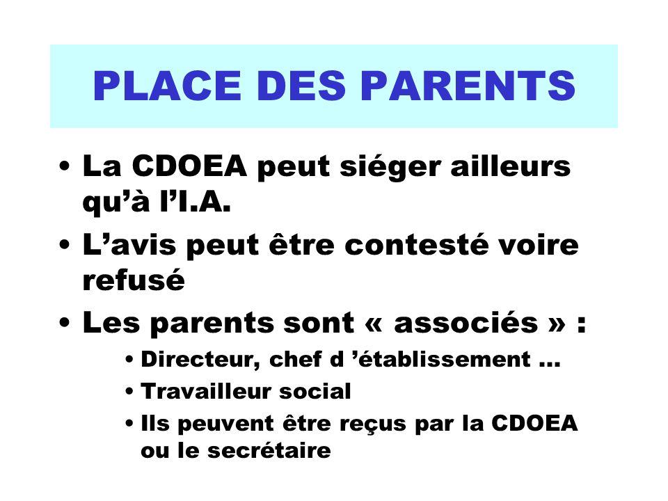 PLACE DES PARENTS La CDOEA peut siéger ailleurs quà lI.A. Lavis peut être contesté voire refusé Les parents sont « associés » : Directeur, chef d étab
