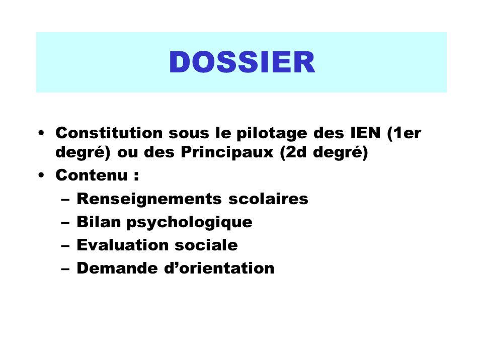 DOSSIER Constitution sous le pilotage des IEN (1er degré) ou des Principaux (2d degré) Contenu : –Renseignements scolaires –Bilan psychologique –Evaluation sociale –Demande dorientation