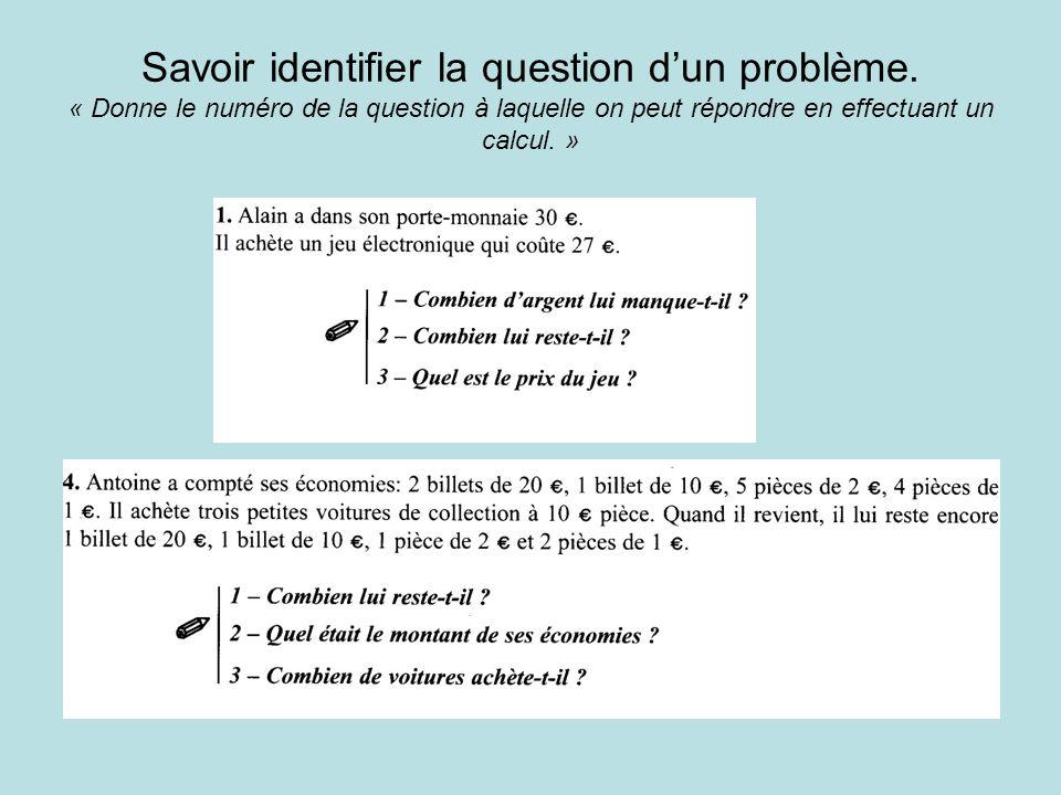 Savoir identifier la question dun problème.