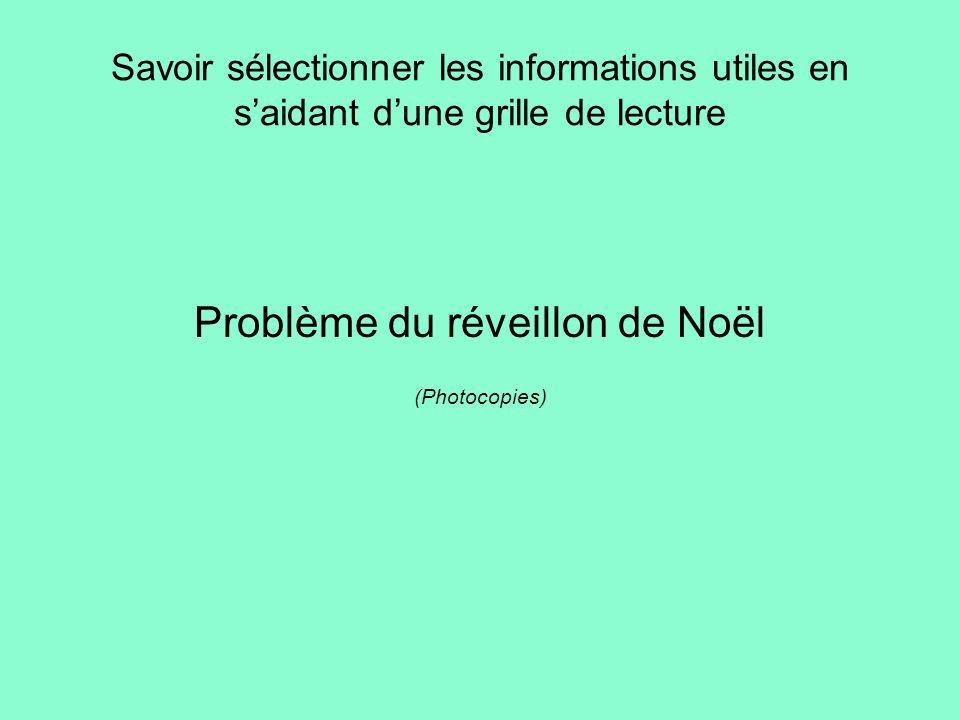 Savoir sélectionner les informations utiles en saidant dune grille de lecture Problème du réveillon de Noël (Photocopies)