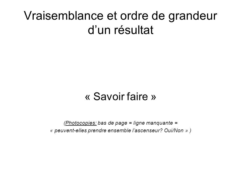 Vraisemblance et ordre de grandeur dun résultat « Savoir faire » (Photocopies: bas de page = ligne manquante = « peuvent-elles prendre ensemble lascenseur.