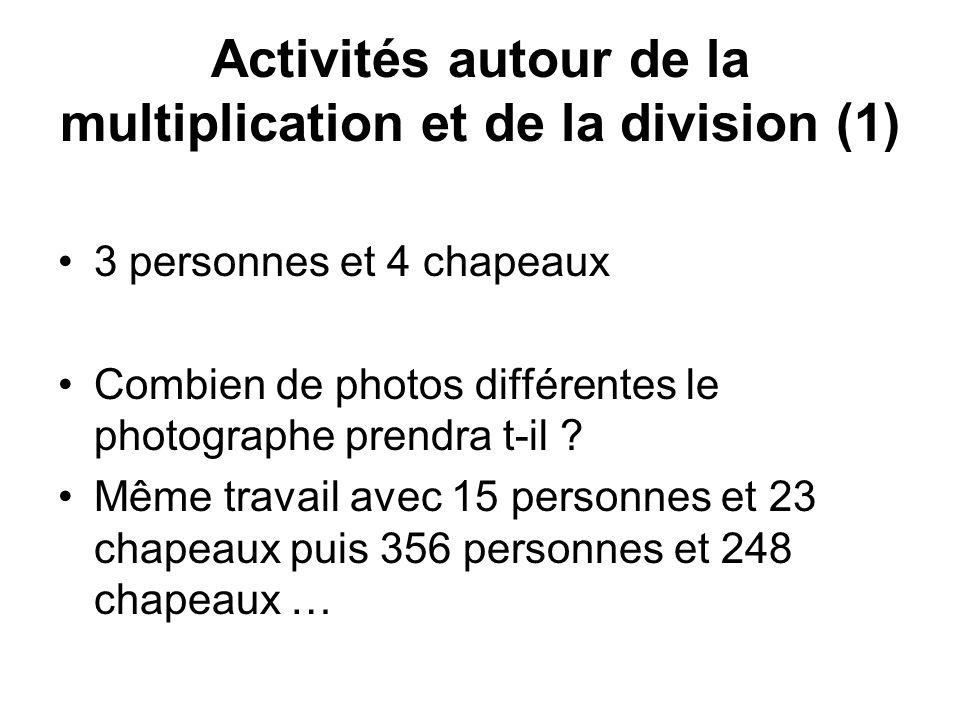 Activités autour de la multiplication et de la division (1) 3 personnes et 4 chapeaux Combien de photos différentes le photographe prendra t-il .