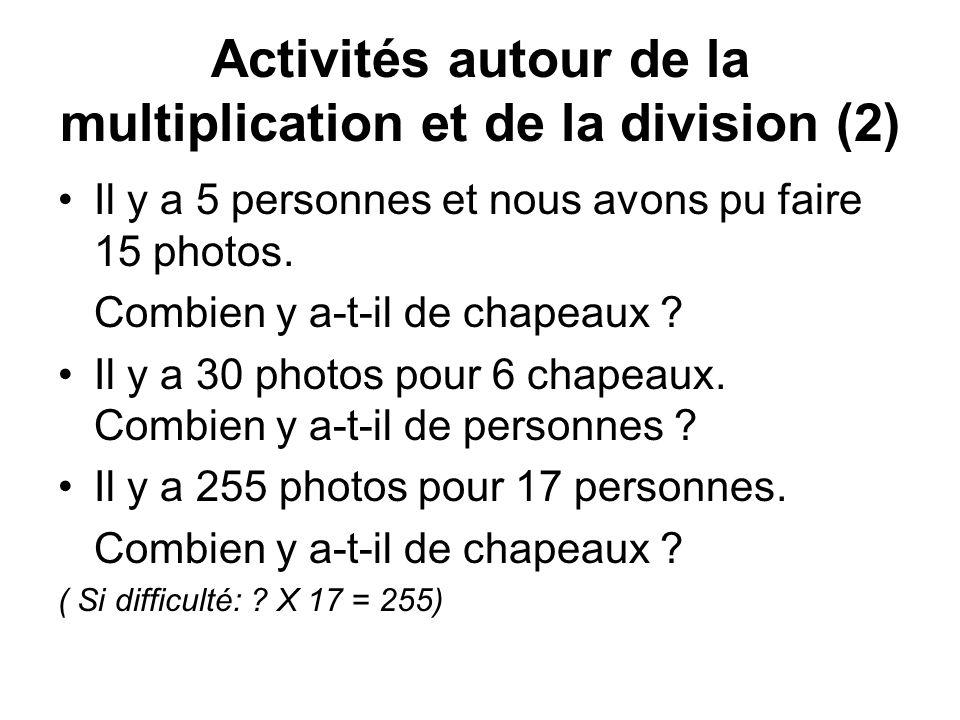 Activités autour de la multiplication et de la division (2) Il y a 5 personnes et nous avons pu faire 15 photos.