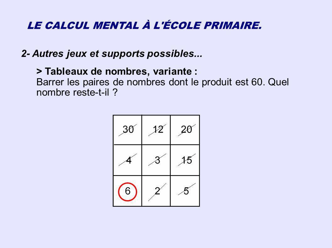 LE CALCUL MENTAL À L'ÉCOLE PRIMAIRE. 2- Autres jeux et supports possibles... > Tableaux de nombres, variante : Barrer les paires de nombres dont le pr