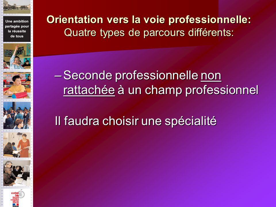 Orientation vers la voie professionnelle: Quatre types de parcours différents: –Seconde professionnelle non rattachée à un champ professionnel Il faudra choisir une spécialité