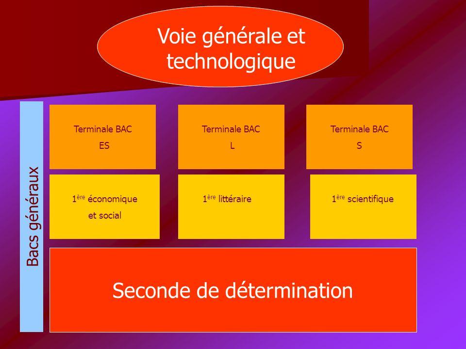 Seconde de détermination 1 ère économique et social 1 ère littéraire 1 ère scientifique Bacs généraux Terminale BAC ES Terminale BAC L Terminale BAC S Voie générale et technologique