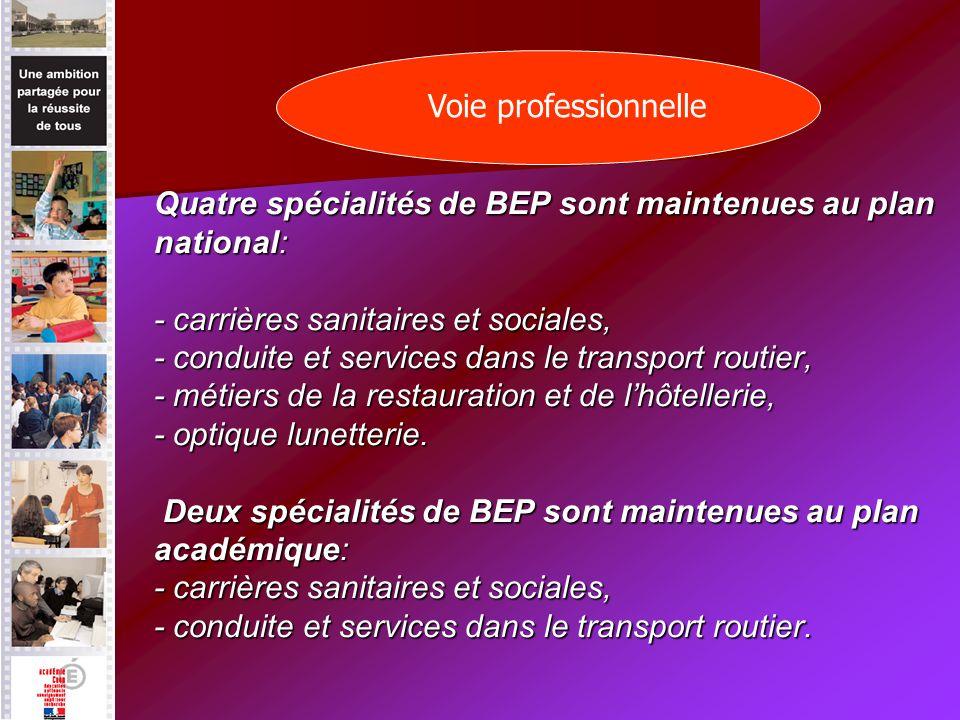 Quatre spécialités de BEP sont maintenues au plan national: - carrières sanitaires et sociales, - conduite et services dans le transport routier, - métiers de la restauration et de lhôtellerie, - optique lunetterie.