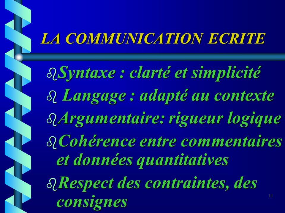 LA COMMUNICATION ECRITE b Syntaxe : clarté et simplicité b Langage : adapté au contexte b Argumentaire: rigueur logique b Cohérence entre commentaires