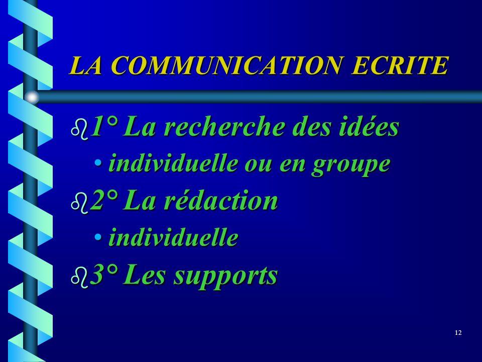 LA COMMUNICATION ECRITE b 1° La recherche des idées individuelle ou en groupeindividuelle ou en groupe b 2° La rédaction individuelleindividuelle b 3°
