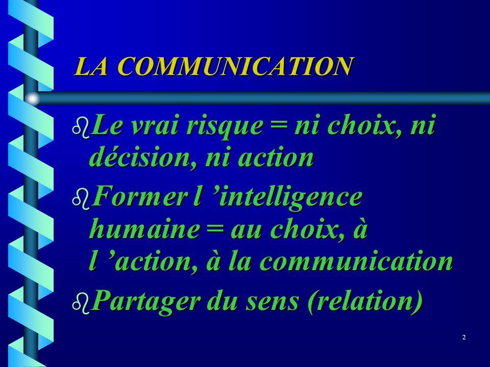LA COMMUNICATION LA COMMUNICATION b Le vrai risque = ni choix, ni décision, ni action b Former l intelligence humaine = au choix, à l action, à la com