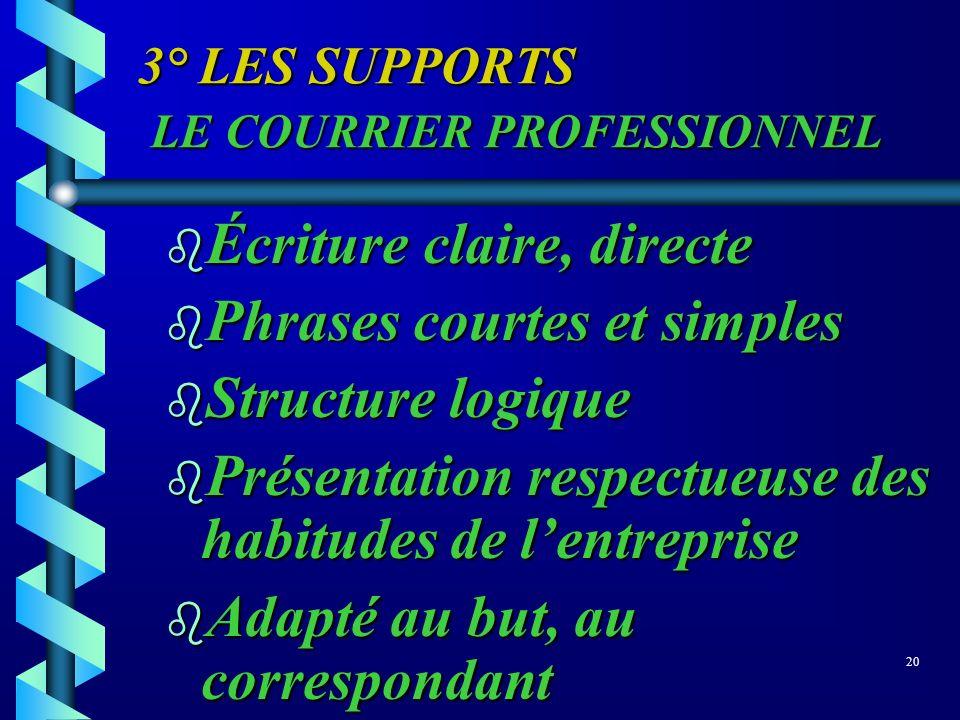 3° LES SUPPORTS LE COURRIER PROFESSIONNEL b Écriture claire, directe b Phrases courtes et simples b Structure logique b Présentation respectueuse des