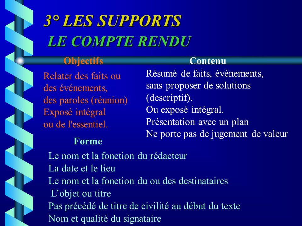 3° LES SUPPORTS LE COMPTE RENDU ObjectifsContenu Forme Relater des faits ou des événements, des paroles (réunion) Exposé intégral ou de l'essentiel. R