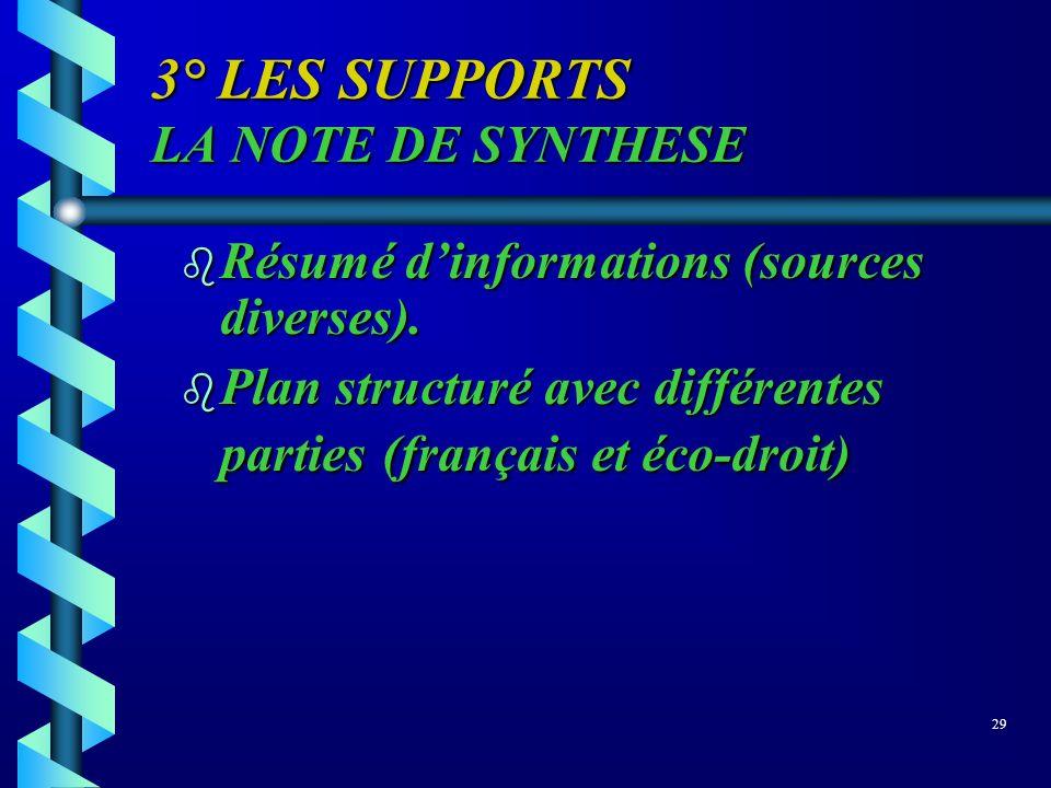 3° LES SUPPORTS LA NOTE DE SYNTHESE b Résumé dinformations (sources diverses). b Plan structuré avec différentes parties (français et éco-droit) 29