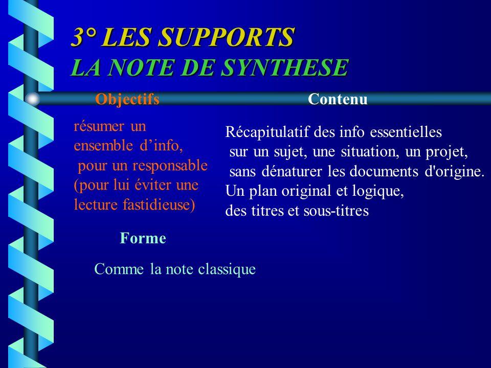 3° LES SUPPORTS LA NOTE DE SYNTHESE ObjectifsContenu Forme résumer un ensemble dinfo, pour un responsable (pour lui éviter une lecture fastidieuse) Ré