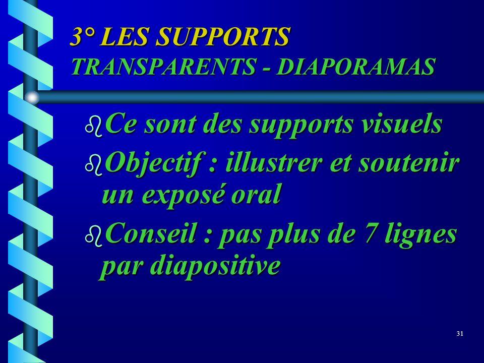 3° LES SUPPORTS TRANSPARENTS - DIAPORAMAS b Ce sont des supports visuels b Objectif : illustrer et soutenir un exposé oral b Conseil : pas plus de 7 l