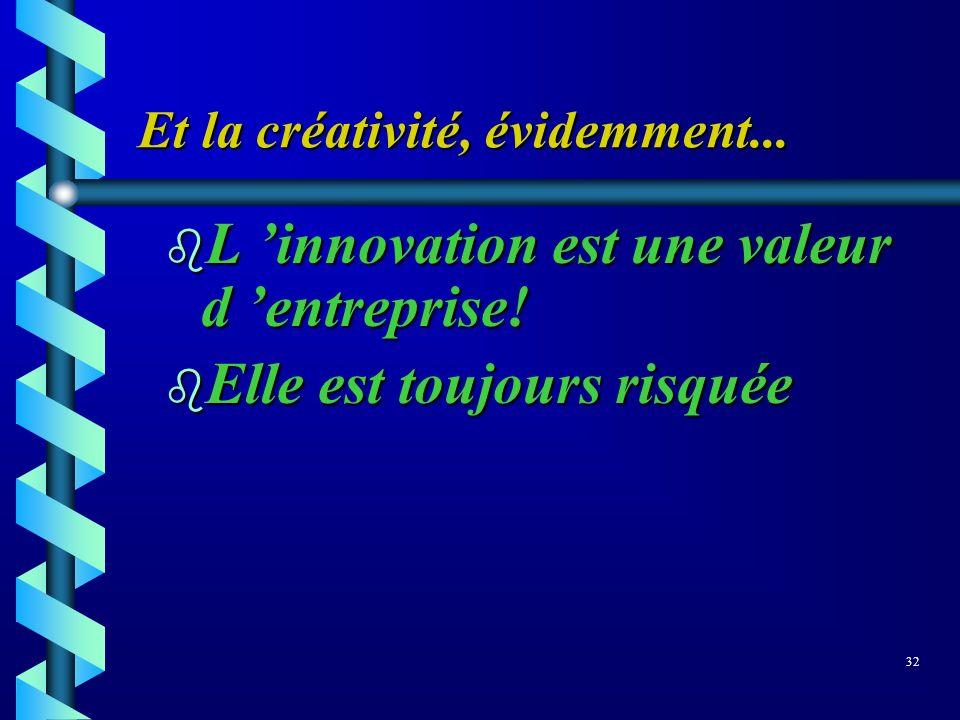 Et la créativité, évidemment... b L innovation est une valeur d entreprise! b Elle est toujours risquée 32