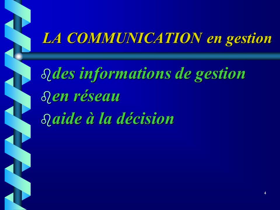 LA COMMUNICATION en gestion LA COMMUNICATION en gestion des informations de gestion des informations de gestion b en réseau aide à la décision aide à
